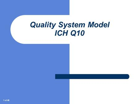 1 of 48 Quality System Model ICH Q10. 2 of 48 Agenda What is ICH Q10 History Why do we need a 'modern effective Quality System'? The elements and enablers.