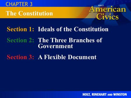 CHAPTER 3 Section 1:Ideals of the Constitution Section 2:The Three Branches of Government Section 3:A Flexible Document The Constitution.