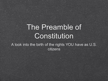 The Preamble of Constitution