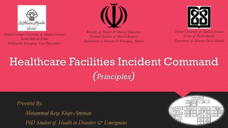 Healthcare Facilities Incident Command ( Principles ) Tehran University of Medical Sciences School of Public Health Department of Disaster Public Health.