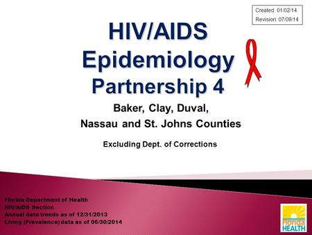 Baker, Clay, Duval, Nassau and St. Johns Counties Excluding Dept. of Corrections Florida Department of Health HIV/AIDS Section Annual data trends as of.