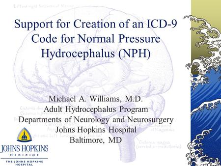 Support for Creation of an ICD-9 Code for Normal Pressure Hydrocephalus (NPH) Michael A. Williams, M.D. Adult Hydrocephalus Program Departments of Neurology.