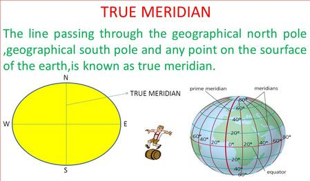 TRUE MERIDIAN The line passing through the geographical north pole ,geographical south pole and any point on the sourface of the earth,is known as true.