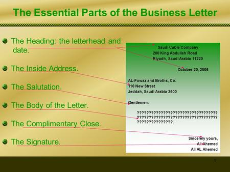 The Essential Parts of the Business Letter
