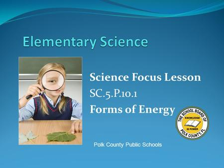 Science Focus Lesson SC.5.P.10.1 Forms of Energy Polk County Public Schools.