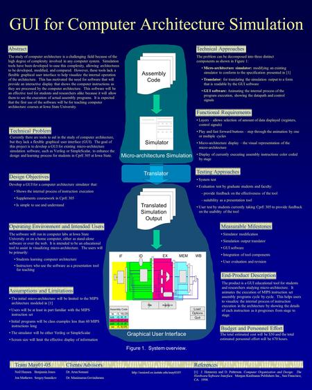 GUI for Computer Architecture Simulation Technical Problem Currently there are tools to aid in the study of computer architecture, but they lack a flexible.