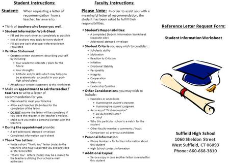 Reference Letter Request Form: Student Information Worksheet