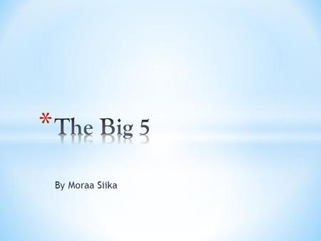 The Big 5 By Moraa Siika.