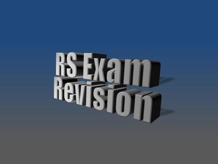 RS Exam Revision Stacked, 3-D text at dramatic angle (Intermediate)