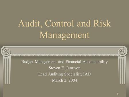 1 Audit, Control and Risk Management Budget Management and Financial Accountability Steven E. Jameson Lead Auditing Specialist, IAD March 2, 2004.