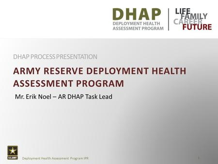 AR Deployment Health Assessment Program Overview Presentation 1 Deployment Health Assessment Program IPR ARMY RESERVE DEPLOYMENT HEALTH ASSESSMENT PROGRAM.