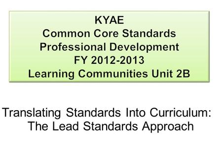 Translating Standards Into Curriculum: The Lead Standards Approach.