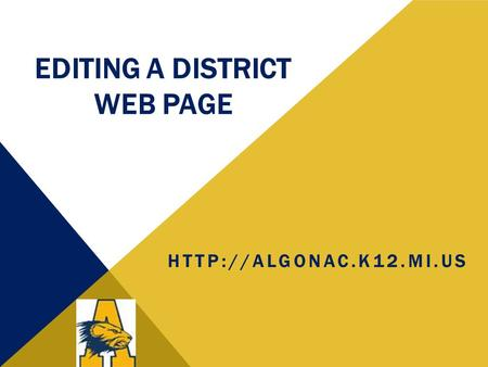 EDITING A DISTRICT WEB PAGE