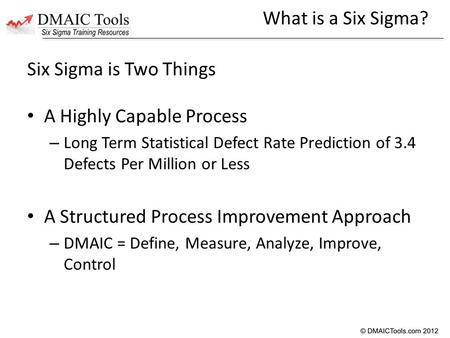 Six Sigma is Two Things A Highly Capable Process – Long Term Statistical Defect Rate Prediction of 3.4 Defects Per Million or Less A Structured Process.