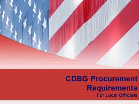 1 CDBG Procurement Requirements For Local Officials.