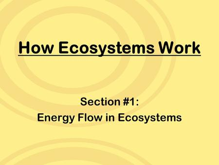 How Ecosystems Work Section #1: Energy Flow in Ecosystems.
