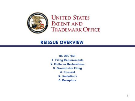 1 REISSUE OVERVIEW 35 USC 251 1. Filing Requirements 2. Oaths or Declarations 3. Grounds for Filing 4. Consent 5. Limitations 6. Recapture.