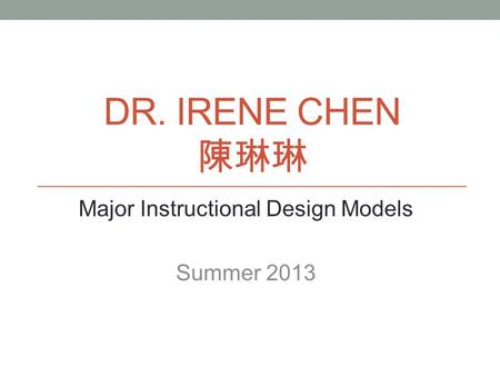 Major Instructional Design Models