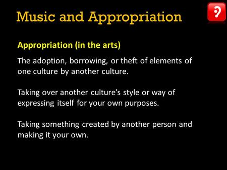 Music and Appropriation