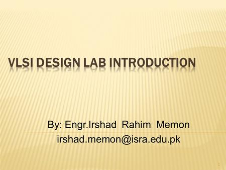 VLSI Design Lab Introduction