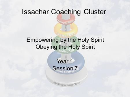 Issachar Coaching Cluster Year 1 Session 7 Empowering by the Holy Spirit Obeying the Holy Spirit.
