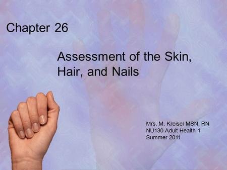 Chapter 26 Assessment of the Skin, Hair, and Nails Mrs. M. Kreisel MSN, RN NU130 Adult Health 1 Summer 2011.