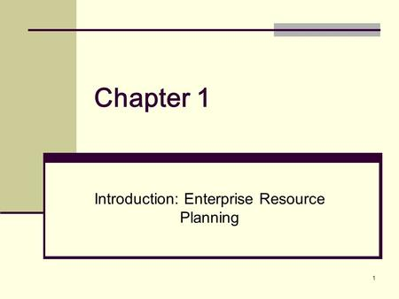 1 Chapter 1 Introduction: Enterprise Resource Planning.