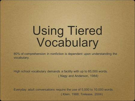 Using Tiered Vocabulary