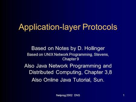 Netprog 2002 DNS1 Application-layer Protocols Based on Notes by D. Hollinger Based on UNIX Network Programming, Stevens, Chapter 9 Also Java Network Programming.