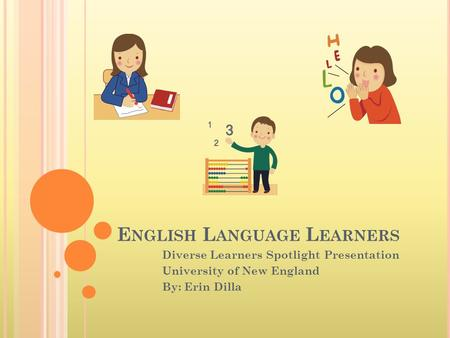E NGLISH L ANGUAGE L EARNERS Diverse Learners Spotlight Presentation University of New England By: Erin Dilla.