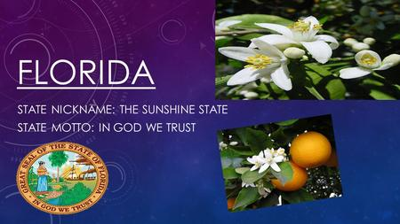 State nickname: The Sunshine State State Motto: In God we trust