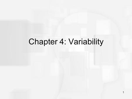 1 Chapter 4: Variability. 2 Variability The goal for variability is to obtain a measure of how spread out the scores are in a distribution. A measure.