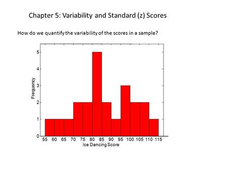 Chapter 5: Variability and Standard (z) Scores How do we quantify the variability of the scores in a sample? 556065707580859095100105110115 0 1 2 3 4 5.