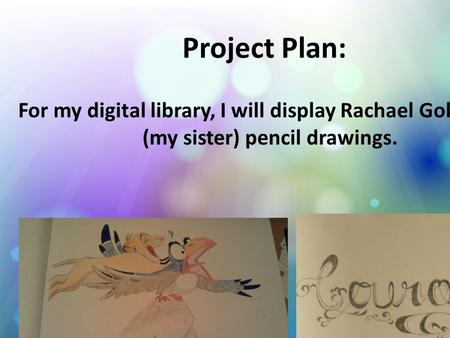 Project Plan: For my digital library, I will display Rachael Goldstein's (my sister) pencil drawings.