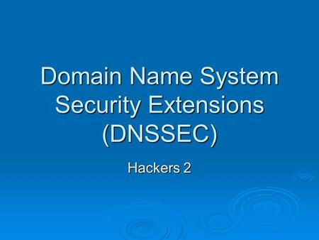 Domain Name System Security Extensions (DNSSEC) Hackers 2.