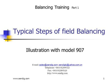 Typical Steps of field Balancing Illustration with model 907