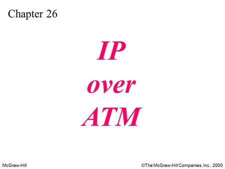 McGraw-Hill©The McGraw-Hill Companies, Inc., 2000 Chapter 26 IP over ATM.