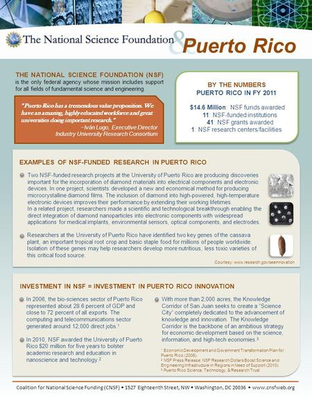 BY THE NUMBERS PUERTO RICO IN FY 2011 $14.6 Million: NSF funds awarded 11: NSF-funded institutions 41: NSF grants awarded 1: NSF research centers/facilities.