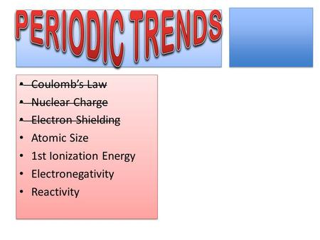 PERIODIC TRENDS Coulomb's Law Nuclear Charge Electron Shielding