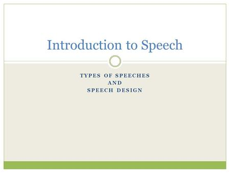 Introduction to Speech
