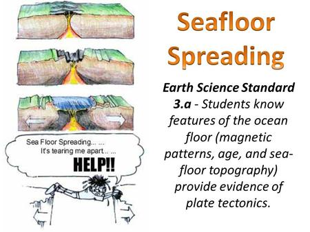 Earth Science Standard 3.a - Students know features of the ocean floor (magnetic patterns, age, and sea- floor topography) provide evidence of plate tectonics.