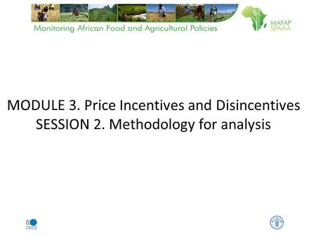 MODULE 3. Price Incentives and Disincentives SESSION 2. Methodology for analysis.