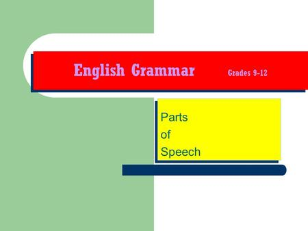 English Grammar Grades 9-12 Parts of Speech Parts of Speech.
