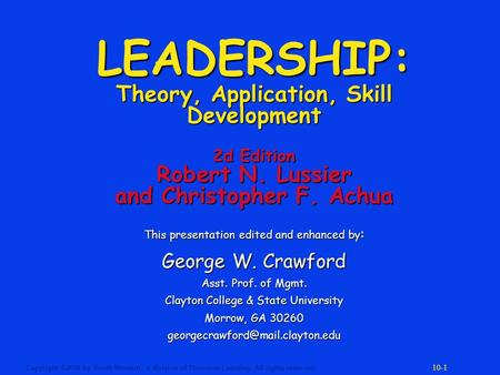leadership lussier achua 2012 If searching for a ebook leadership: theory, application, & skill development by christopher f achua, robert n lussier in pdf form, then you have come on to the.