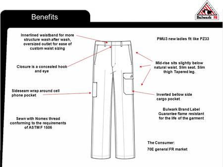 Pr Benefits Sewn with Nomex thread conforming to the requirements of ASTM F 1506 Bulwark Brand Label Guarantee flame resistant for the life of the garment.
