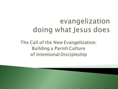 The Call of the New Evangelization: Building a Parish Culture of Intentional Discipleship.
