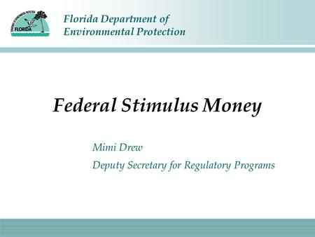 Florida Department of Environmental Protection Federal Stimulus Money Mimi Drew Deputy Secretary for Regulatory Programs.