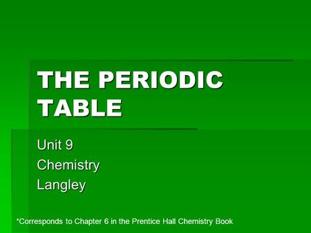 Unit 9 Chemistry Langley