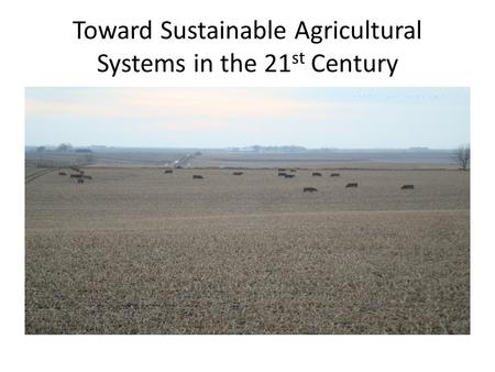Toward Sustainable Agricultural Systems in the 21 st Century.