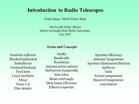 Introduction to Radio Telescopes Frank Ghigo, NRAO-Green Bank The Fourth NAIC-NRAO School on Single-Dish Radio Astronomy July 2007 Terms and Concepts Parabolic.